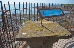 Sun dial at Crail. Sun dial on cliff top above the harbor at Crail, in the East Neuk of Fife Royalty Free Stock Photos