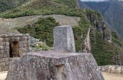 The Sun Dial at the Inca Ruins at Machu Picchu. Peru stock photography
