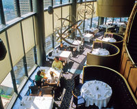 Sun Dial restaurant. Every table in the revolving Sun Dial restaurant on the top floor of the Westin Hotel, Atlanta, Georgia, has a window over looking the city Stock Photography
