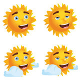 Sun with Different Emotions Royalty Free Stock Image