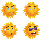 Sun with Different Emotions Royalty Free Stock Photo