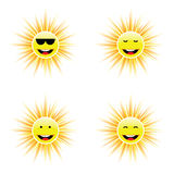 Sun with different face smile illustration. Sun with different face smile art vector illustration Stock Images