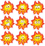 Sun with different facial expressions Royalty Free Stock Photo