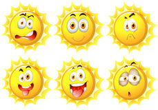 Sun with different facial expressions Stock Image
