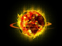 Sun Digital World. Sun wrapped up a world map on fire in the digital age Royalty Free Stock Photos