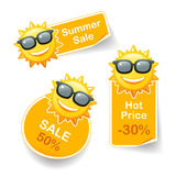 Sun discount. Smiling sun sunglasses discount pricetags vector illustration Royalty Free Stock Images