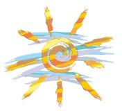 Sun disegnato con le pitture Fotografie Stock Libere da Diritti