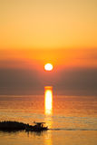 Sun disk reflecting on sea surface Royalty Free Stock Photography