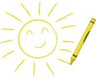 Sun dissipato pastello - illustrazione di vettore Immagini Stock Libere da Diritti