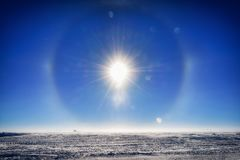 Sun dog at the South Pole royalty free stock image