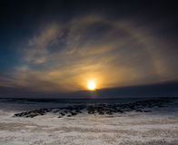 Sun dog at sunset Royalty Free Stock Images