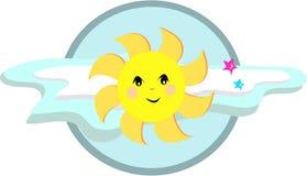 Sun dolce con le nubi e le stelle Fotografie Stock Libere da Diritti