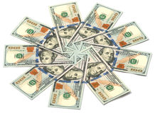 Sun of dollar bills Stock Photography