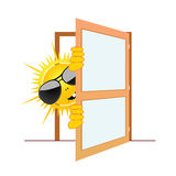 Sun and the door vector illustration Royalty Free Stock Photography