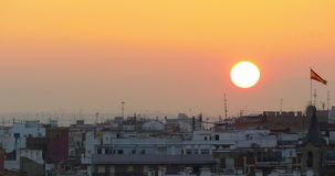 Sun down valencia roof tops panorama 4k spain stock video footage