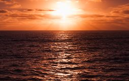 Sun in dramatic cloudy sky. Portugal Royalty Free Stock Photos