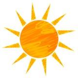 Sun drawing. Ower white. vector illustration Stock Image