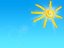Sun drawing on blue sky.  stock illustration
