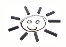 Sun drawing coal smile. Isolated Stock Images