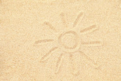 Sun drawing on sand Royalty Free Stock Photos