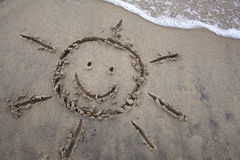 Sun Drawing In Sand - Spring Break Stock Photos