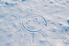 Sun Drawn in the Snow Royalty Free Stock Photography