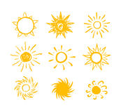 Sun drawn vector icons Royalty Free Stock Photography
