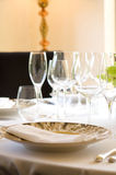 Sun drenched european cafe table setting Royalty Free Stock Images