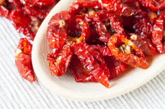 Sun-dried cherry tomatoes macro Royalty Free Stock Photography
