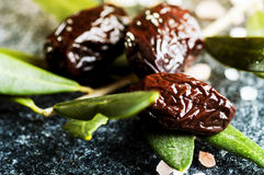 Sun-dried olives with green leaves Stock Image