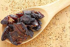 Sun dried pitted Italian Plums Royalty Free Stock Photography