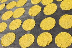 Sun-dried Potato And Sesame Crackers Stock Image