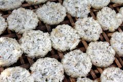 Sun-dried Sticky Rice Cakes Stock Photo