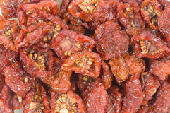 Sun-dried tomatoes. The sun-dried tomatoes isolated stock image