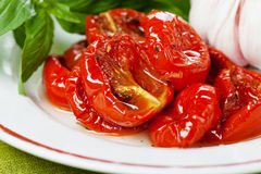 Sun dried tomatoes. With garlic and basil Royalty Free Stock Photography