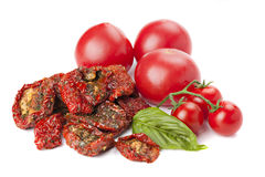 Sun dried tomatoes with basil and fresh  ripe tomatoes. Stock Images