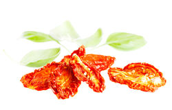 Sun-dried tomatoes with basil leaves Royalty Free Stock Image