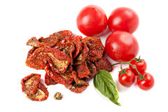 Sun dried tomatoes with basil and ripe tomatoes Royalty Free Stock Photography
