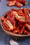 Sun-dried tomatoes. In a bowl Royalty Free Stock Photos