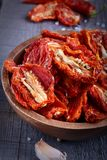 Sun-dried tomatoes. In a bowl Stock Photo