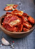 Sun-dried tomatoes. In a bowl Stock Photos