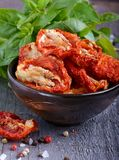 Sun-dried tomatoes. In a bowl Royalty Free Stock Photography