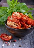 Sun-dried tomatoes. In a bowl Royalty Free Stock Image