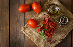 Sun-dried tomatoes with herbs Royalty Free Stock Image