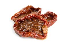 Sun dried tomatoes. With isolated on white Royalty Free Stock Images