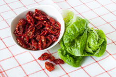 Sun dried tomatoes and lettuce Stock Photos