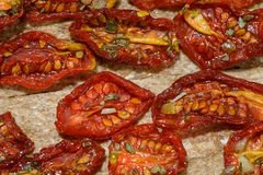 Sun-dried tomatoes Stock Images
