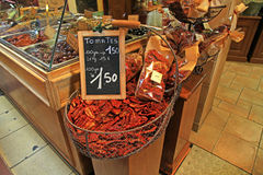 Sun dried tomatoes at market in Provence, France Royalty Free Stock Images