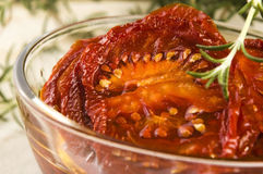 Sun dried tomatoes with olive Royalty Free Stock Photos