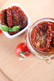 Sun dried tomatoes with olive oil in a jar Royalty Free Stock Image